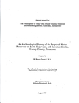 An archaeological survey of the proposed water reservoir on Scott, Holywater, and Sewanee Creeks, Grundy County, Tennessee