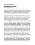 Rodney Stephenson biographical sketch by Katherine Wilson